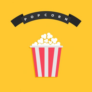 Big film strip ribbon with text and popcorn stock vector