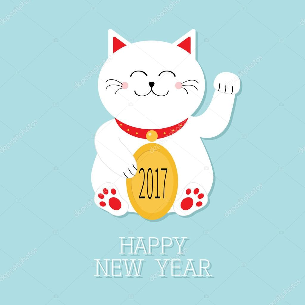 new year card with lucky cat stock vector
