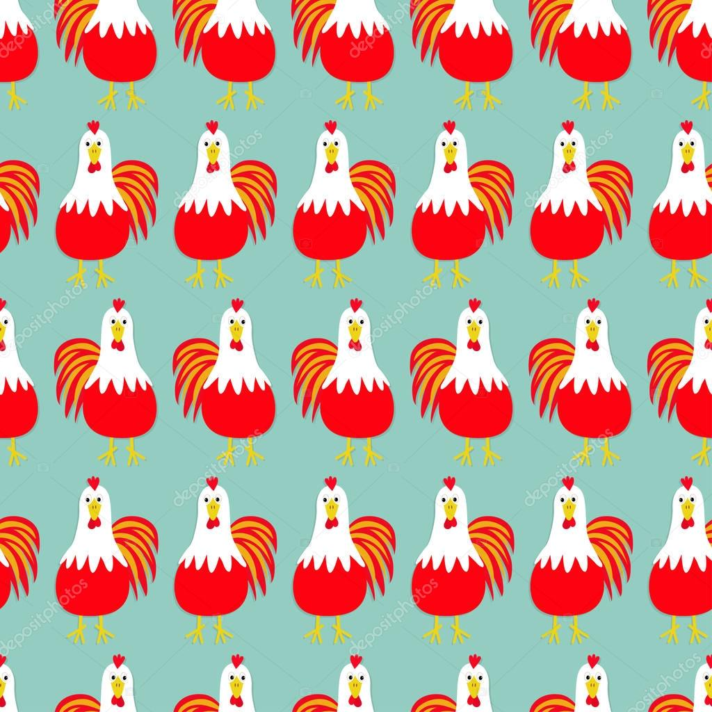 Roosters Seamless Pattern