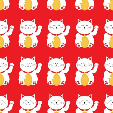 Lucky cats seamless pattern