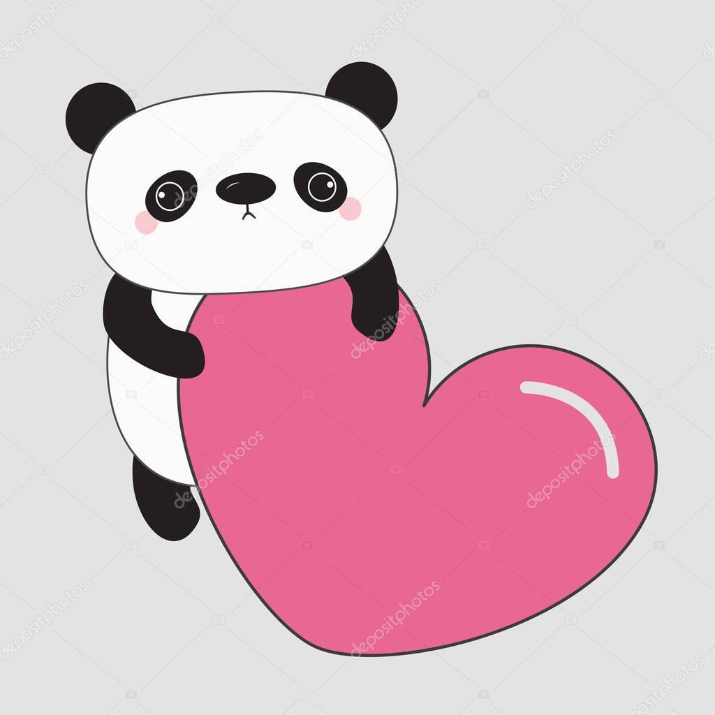 Dibujo De Pandas Kawaii Bebé Oso Kawaii Panda Vector De Stock