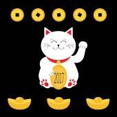 Fotografie Glückliche Katze mit goldenen Münze