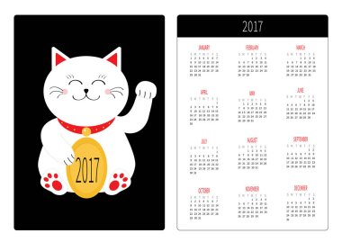 Pocket calendar 2017 year with cat