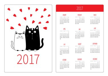 Pocket calendar with cats and hearts