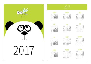 Pocket calendar with panda bear