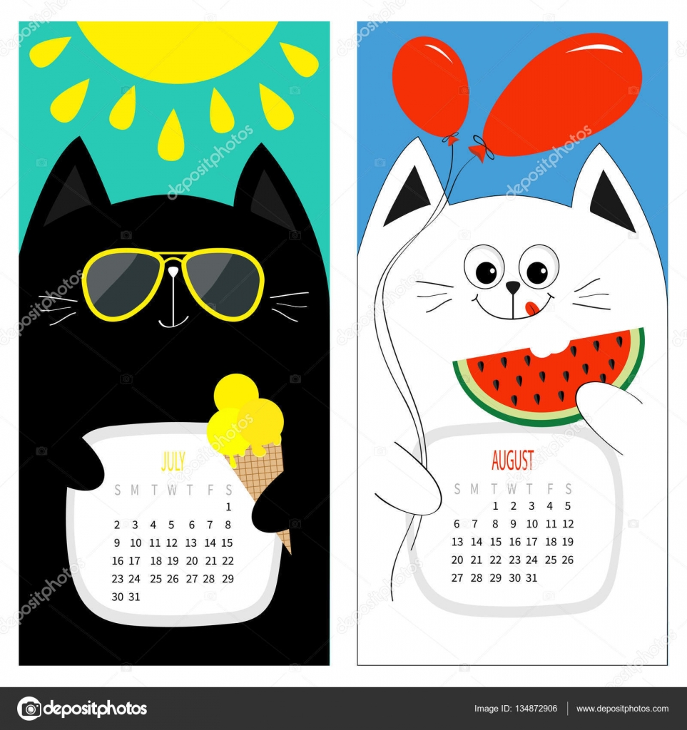 Cats Calendar 2017. Stock Illustration