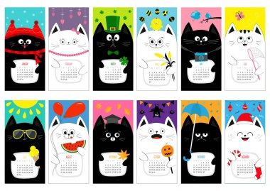 calendar of 2017 year with cats
