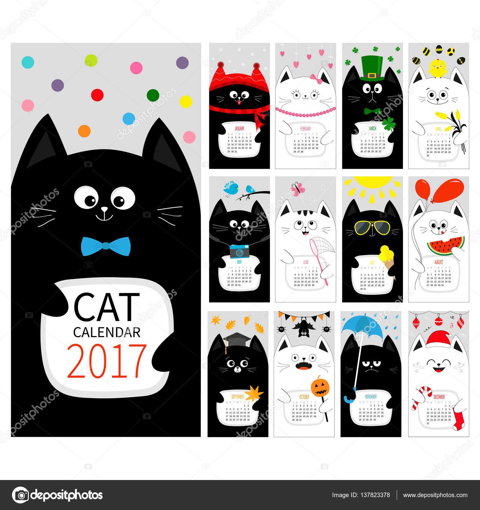 plantilla de calendario con los gatos — Vector de stock ...