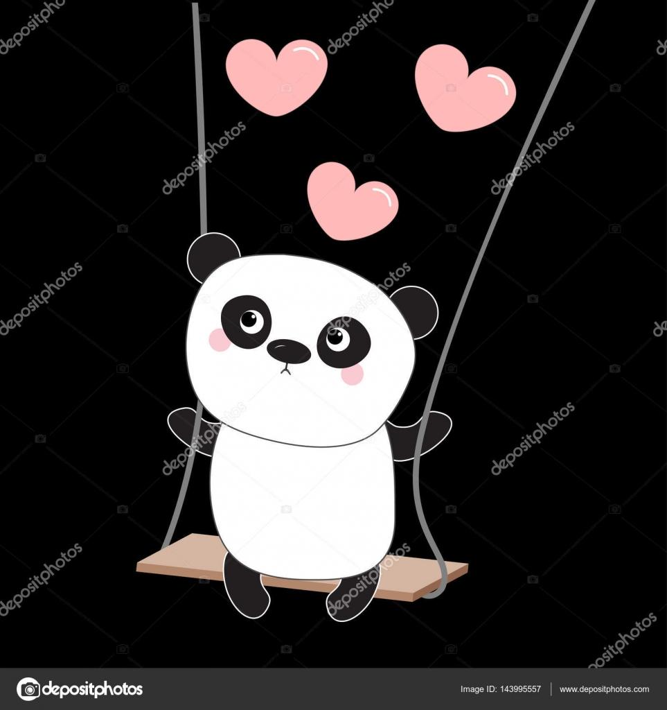 Panda Ride Sur La Balancoire Image Vectorielle Worldofvector