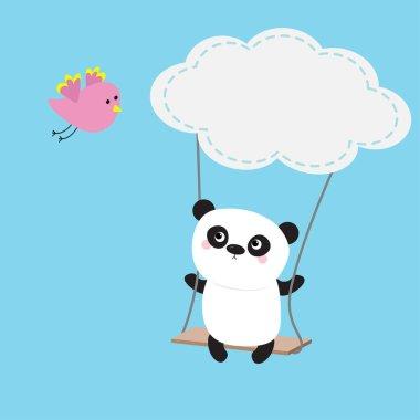 Panda ride on the swing.
