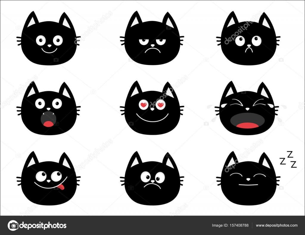 Les chats noirs mignon ensemble \u2014 Image vectorielle