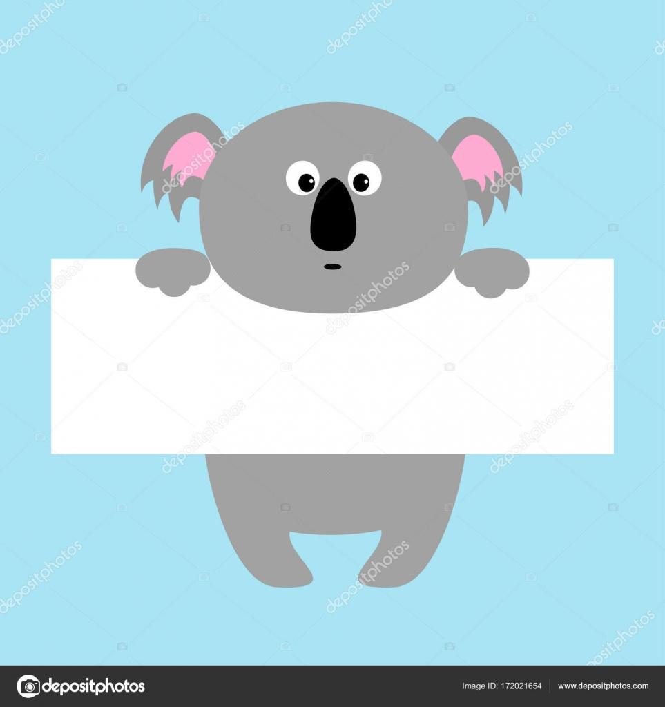 Koala divertido colgando en el tablero de papel — Vector de stock ...