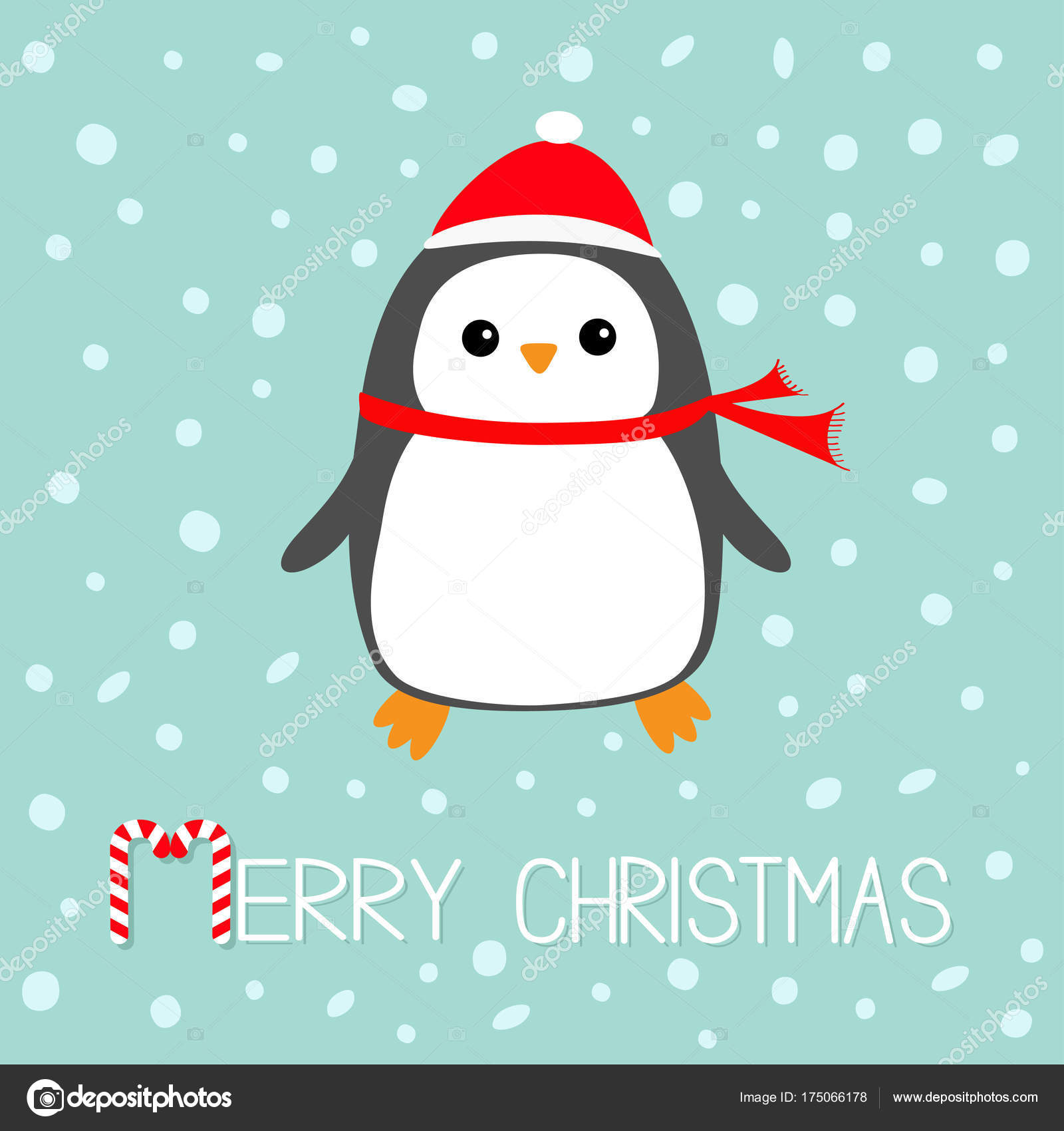 a51ddef8ab59a Merry Christmas Candy canes text. Kawaii Penguin bird. Red Santa Claus hat