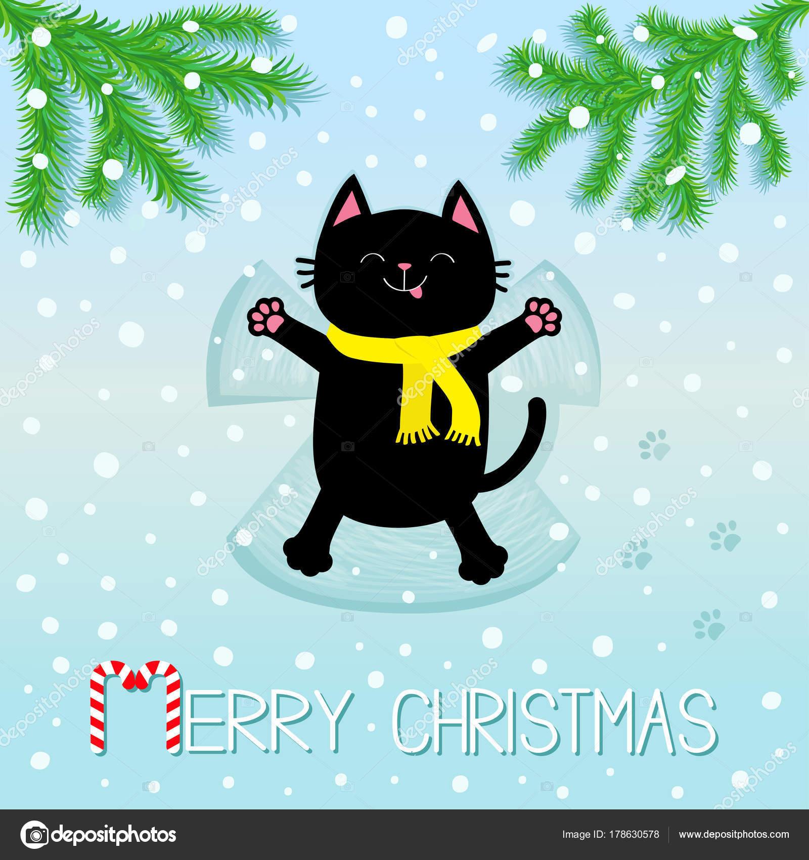 Frohe Weihnachten Katze.Frohe Weihnachten Schwarze Lächelnde Katze Mit Auf Rücken