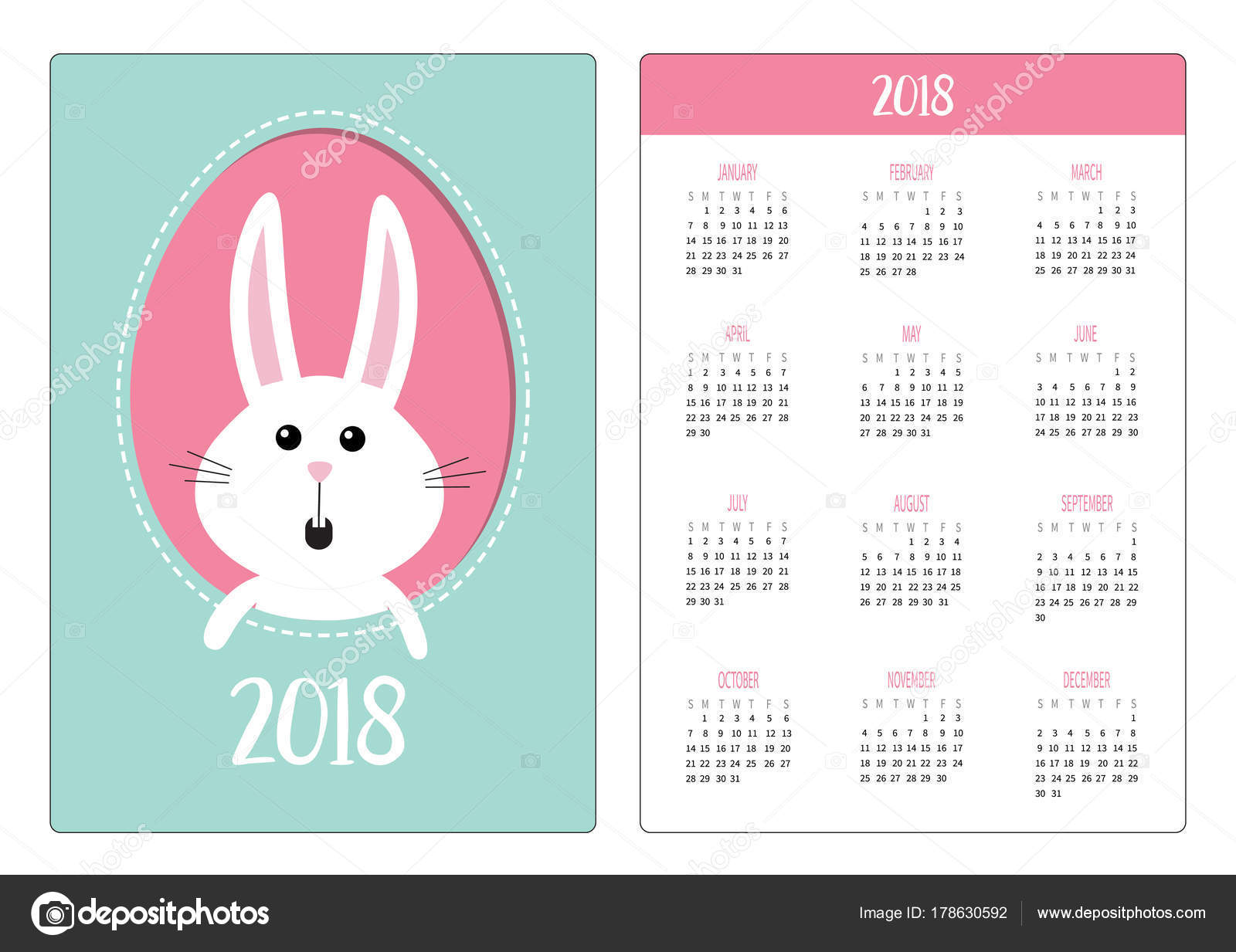 Calendario Bolsillo Año 2018 Semana Comienza Domingo Feliz Pascua ...