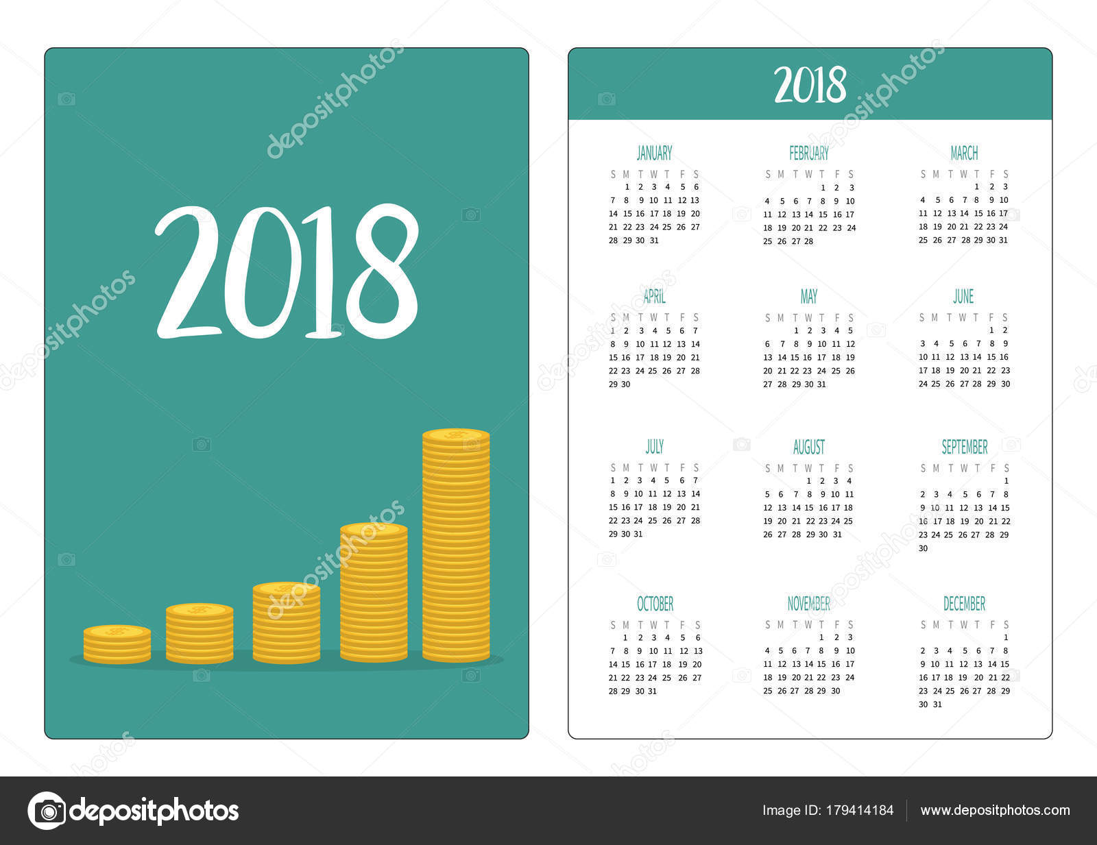 vector illustration design pocket calendar 2018 year gold coin stacks stock vector