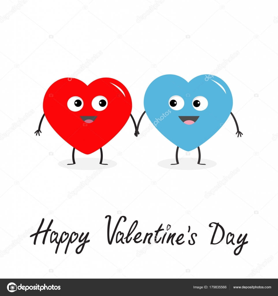 Happy Valentines Day Sign Symbol Red Blue Heart Family Couple