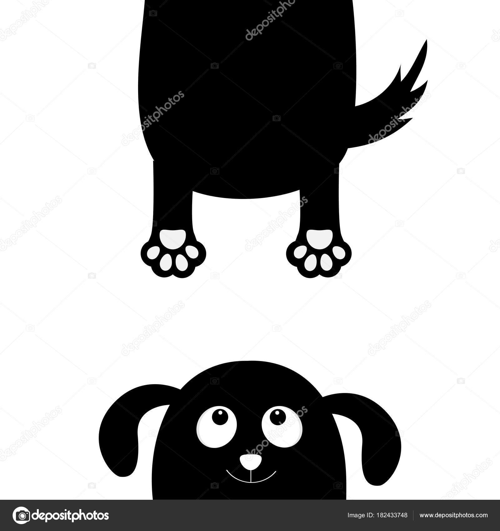Chien Noir Avec Silhouette Grimace Pendaison Corps Gras Avec