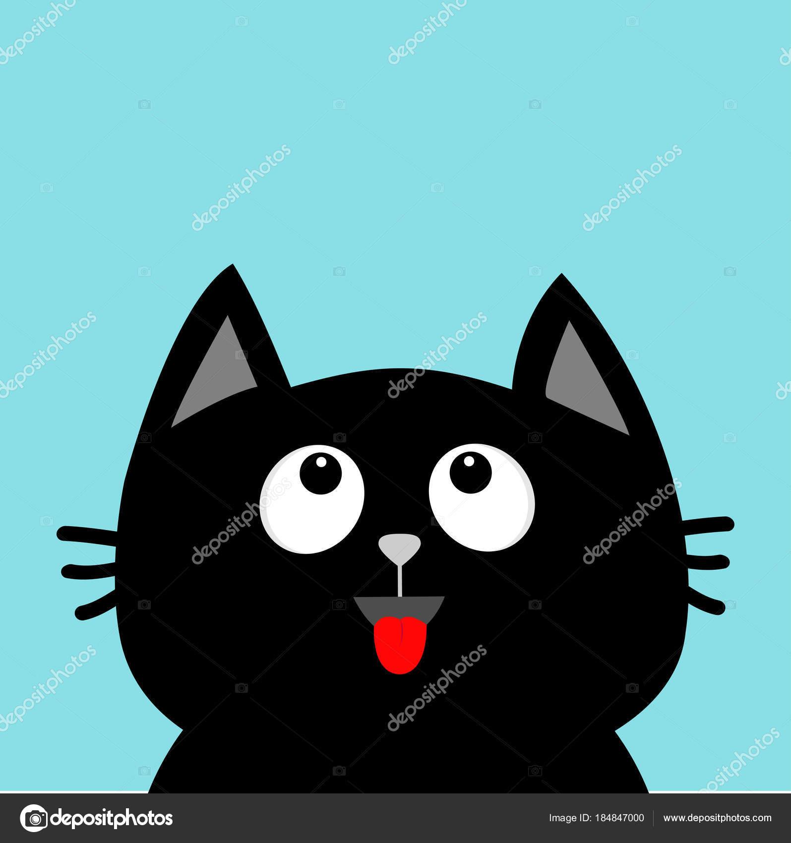 Carte Avec Personnage Dessin Anime Mignon Tete Chat Noir Levant