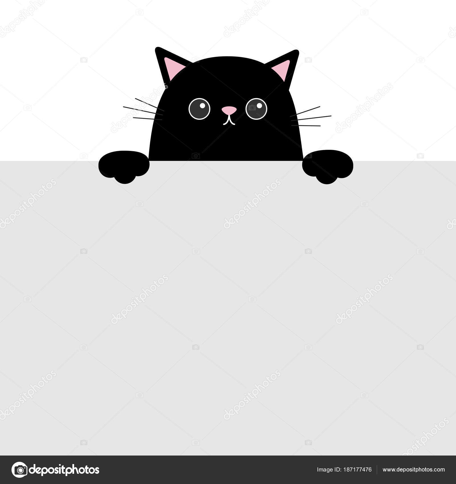 Gato Gracioso Negro Colgando Plantilla Tarjeta Papel Ilustración ...