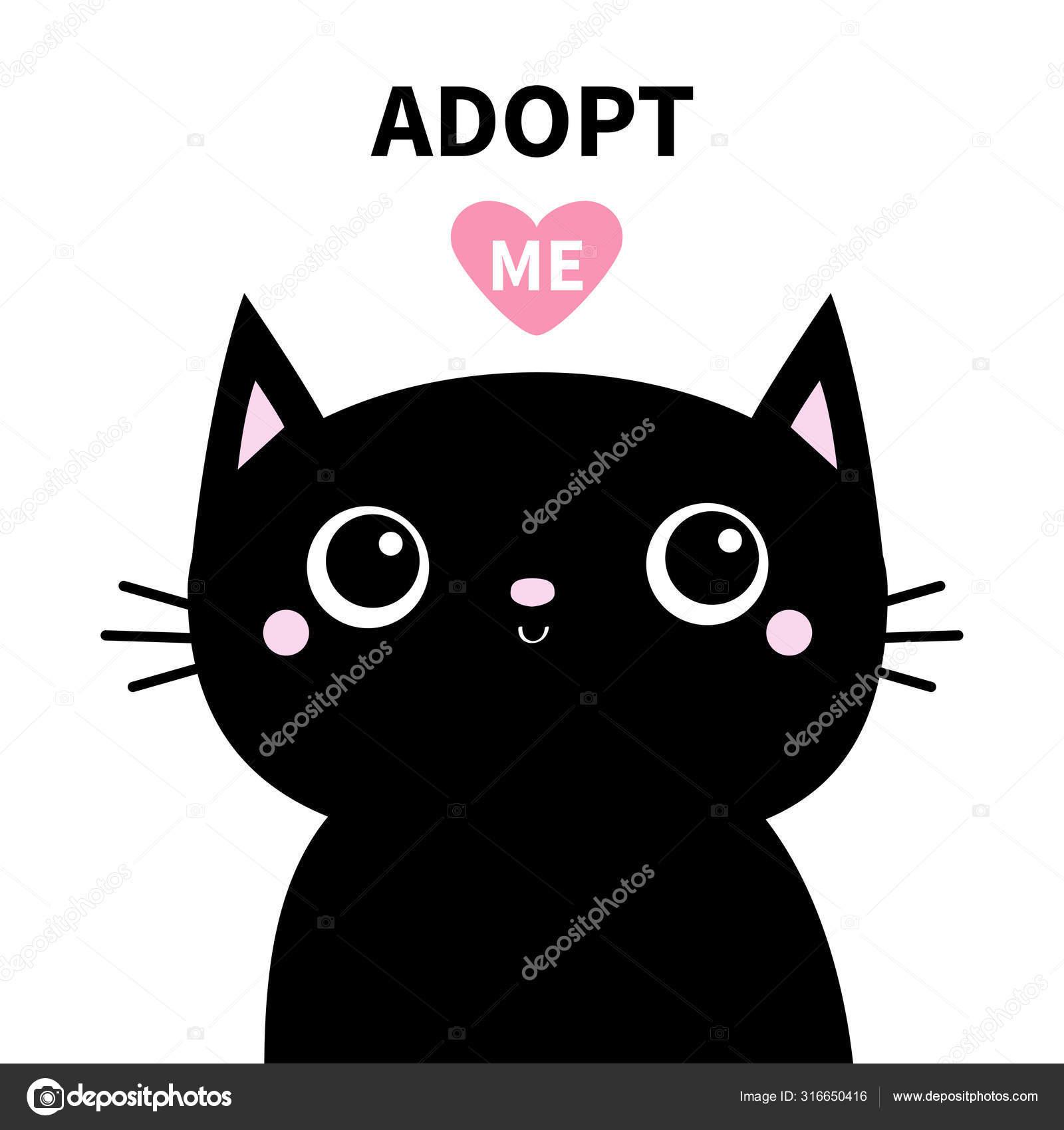 Adopt Me Black Cat Head Face With Big Eyes Cute Cartoon Kawaii