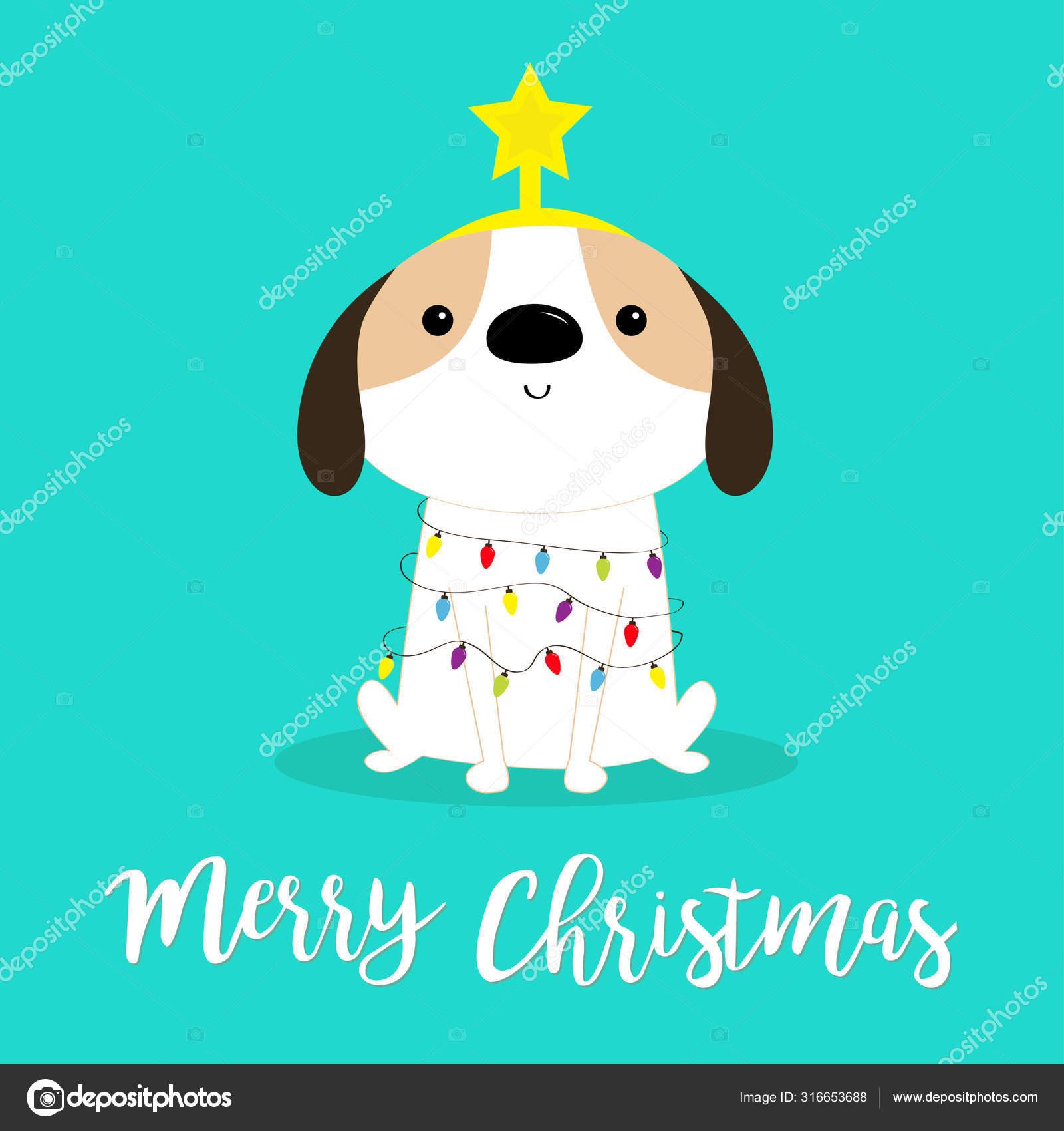 Merry Christmas Dog Fir Tree Shape Garland Lights Bulb String Star Puppy Pooch Sitting Funny Kawaii