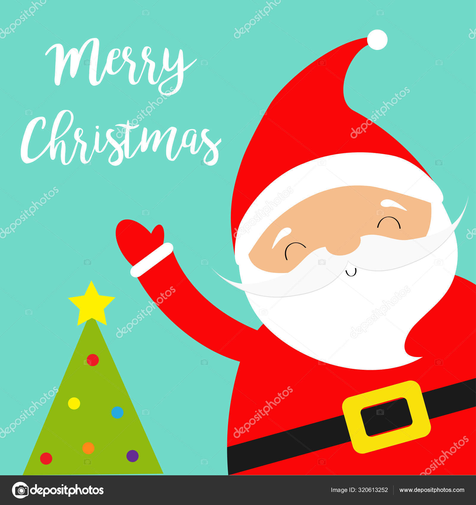 Santa Claus Waving Hand Merry Christmas Tree Costume Red Hat Golden Belt Beard Cute Cartoon Kawaii Funny Baby Character Smiling Face New Year Greeting Card Blue Background Stock Vector C Worldofvector 320613252 Kawaii doodles kawaii chibi kawaii art christmas tree drawing cute christmas tree cartoon christmas tree xmas felt christmas christmas ornaments. depositphotos