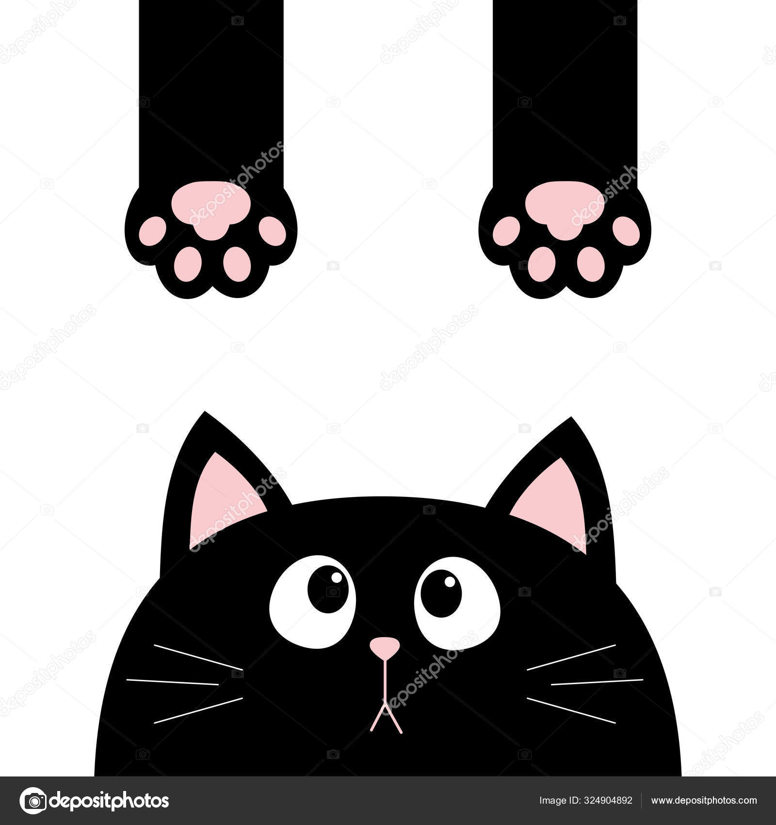 Black Cat Funny Face Head Silhouette Looking Up Hanging Paw