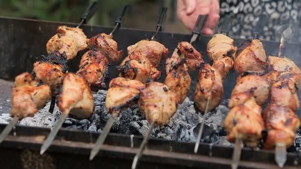 Vepřové nebo jehněčí kousky masa, smažený na gril na dřevěné uhlí
