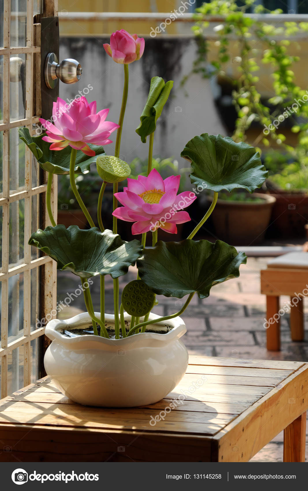 Artificial Flower Lotus Flower From Clay Stock Photo