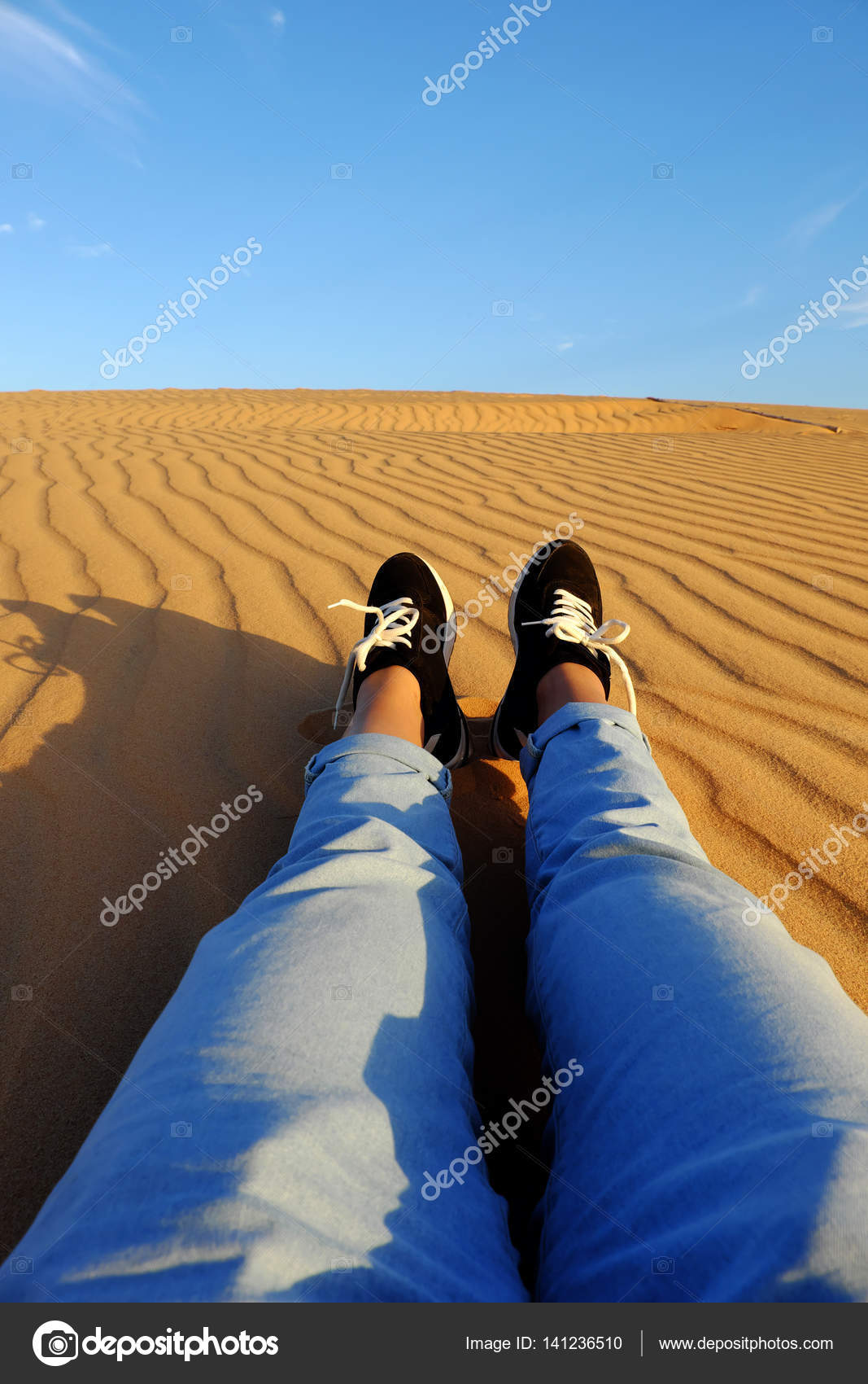 Beautiful Summer Is Coming, Woman Foot On Sand Hill U2014 Stock Photo