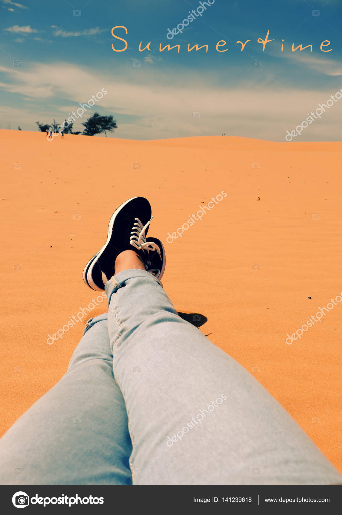 Summer Is Coming, Woman Foot On Sand Hill U2014 Stock Photo