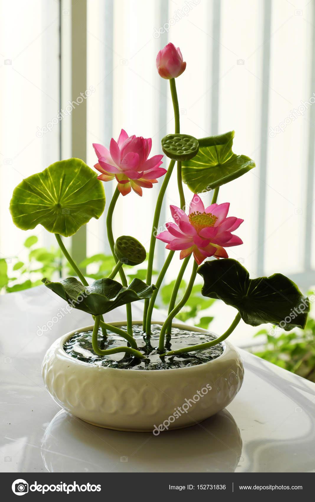 Clay Art Pink Lotus Flower Pot Stock Photo Xuanhuongho 152731836
