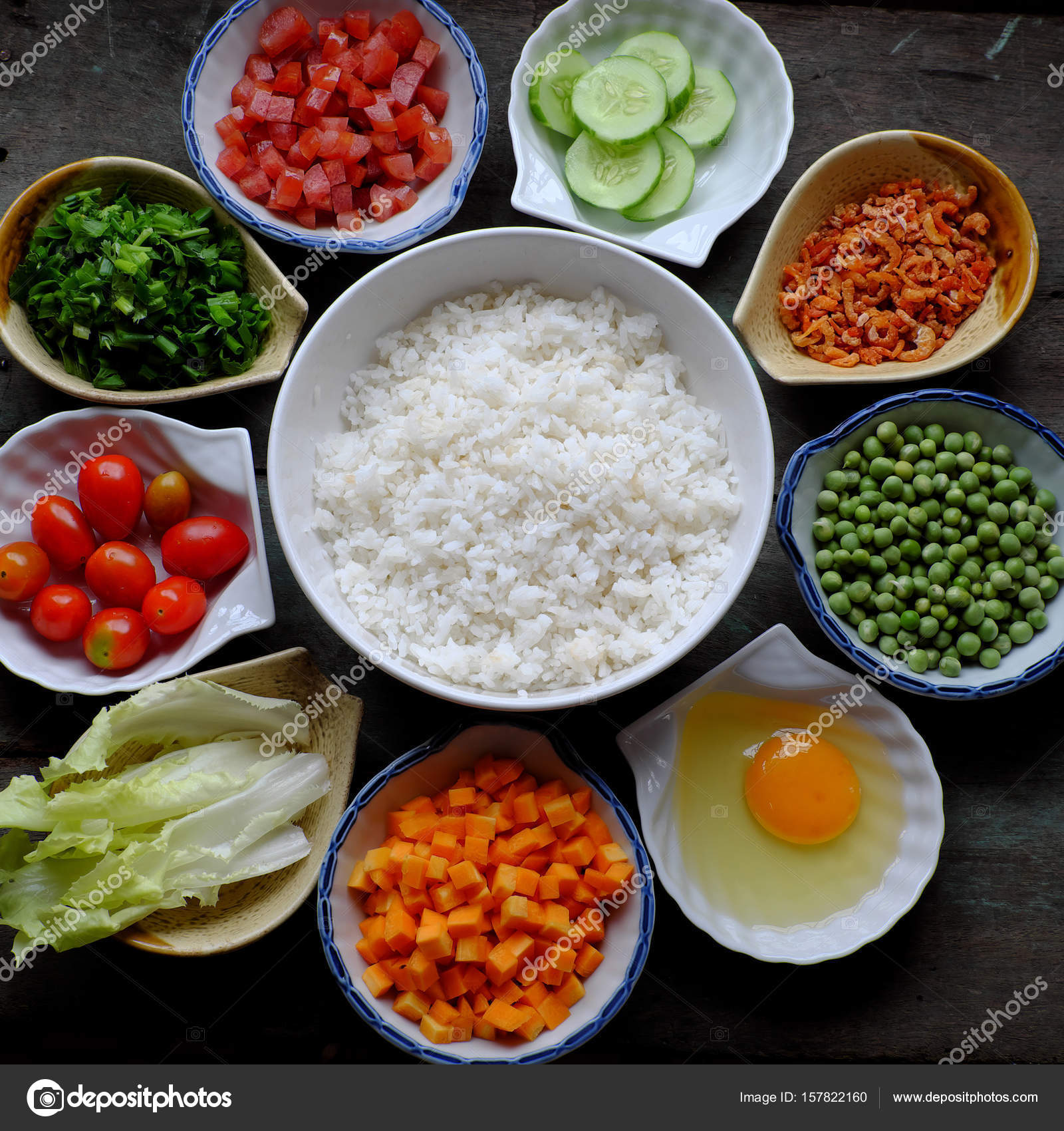 Food material for fried rice stock photo xuanhuongho 157822160 vietnam food fried rice make from rice egg sausage dried shrimp bean cucumber tomato carrot and scallion processing with colorful food material on ccuart Images