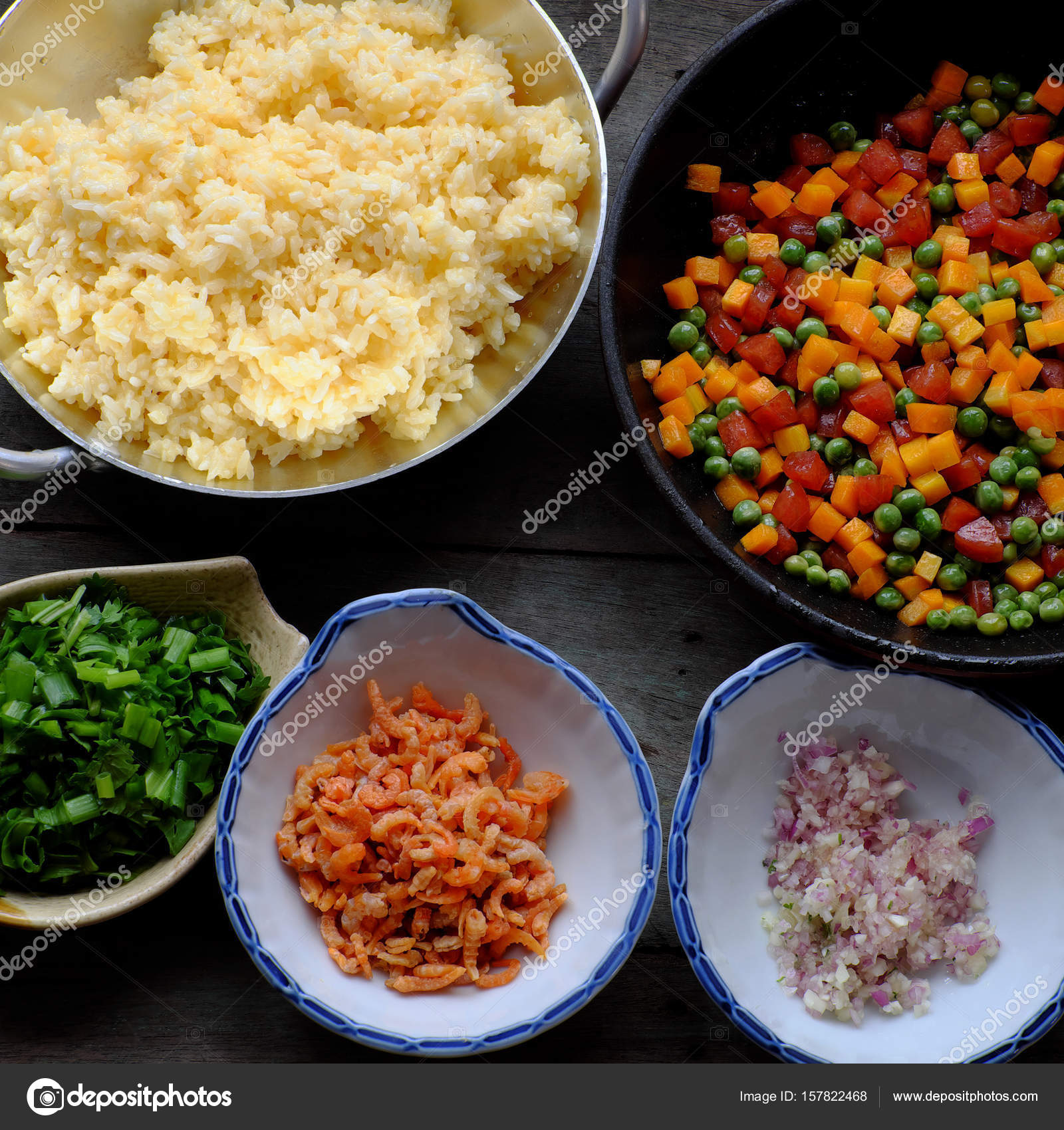 Vietnam food fried rice stock photo xuanhuongho 157822468 vietnam food fried rice make from rice egg sausage dried shrimp bean cucumber tomato carrot and scallion processing with colorful food material on ccuart Images