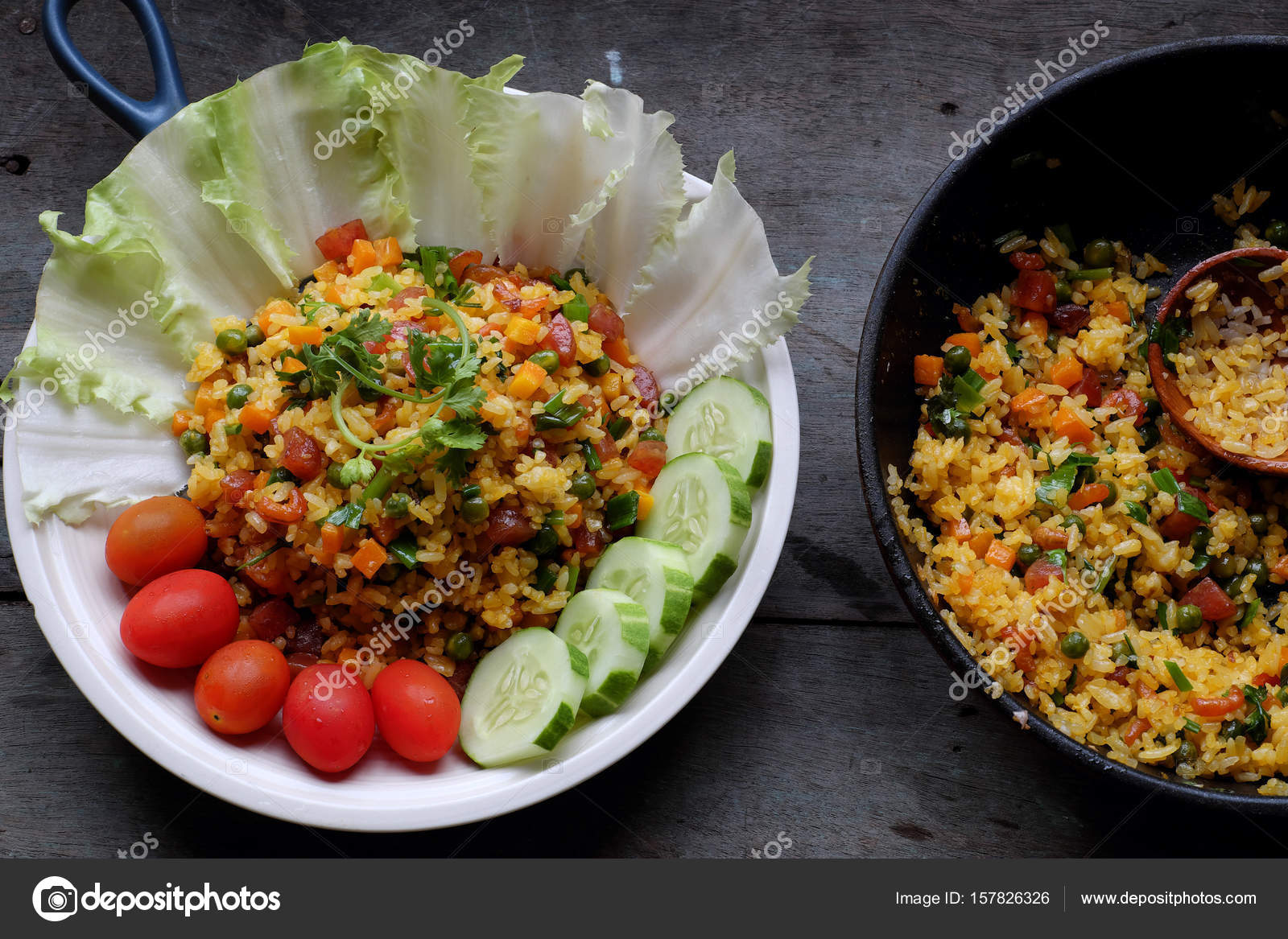 Vietnam food fried rice stock photo xuanhuongho 157826326 vietnam food fried rice make from rice egg sausage dried shrimp bean cucumber tomato carrot and scallion high view of dishl on wooden background ccuart Images