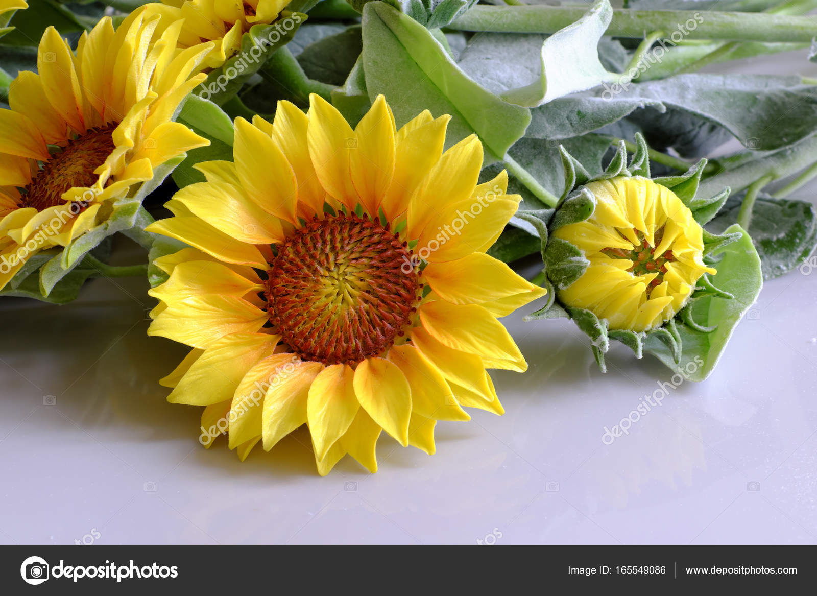 Clay flower sunflower bouquet stock photo xuanhuongho 165549086 amazing clay flower handmade product for home decor sunflower bouquet bloom in yellow and green leaf on white background beautiful artificial flower izmirmasajfo Images