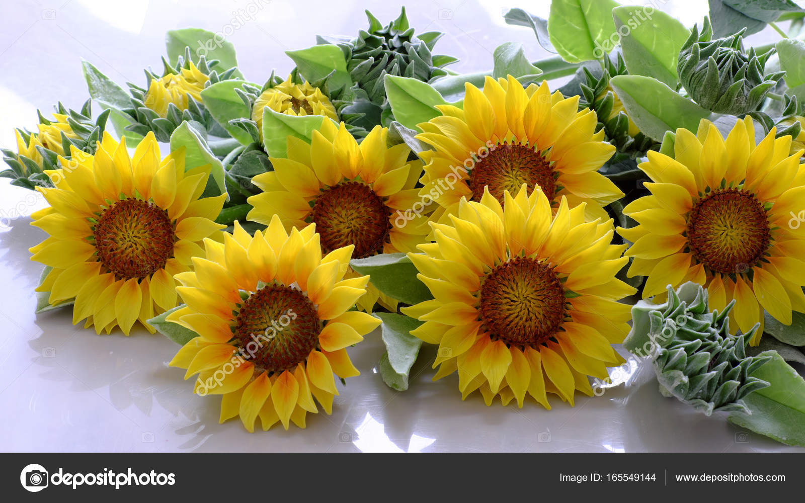 Clay flower sunflower bouquet stock photo xuanhuongho 165549144 amazing clay flower handmade product for home decor sunflower bouquet bloom in yellow and green leaf on white background beautiful artificial flower izmirmasajfo Images