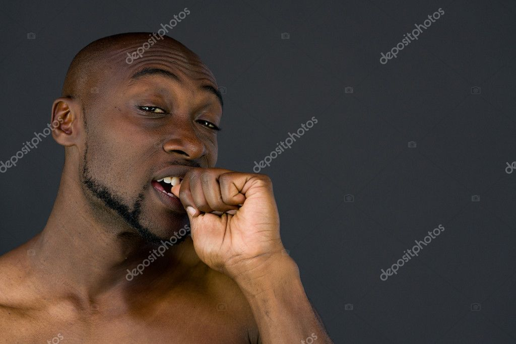 african american man biting nails — Stock Photo © Bruno135 #128258026