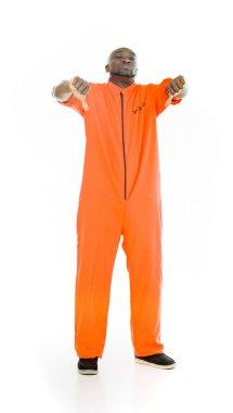 prisoner man showing thumbs down