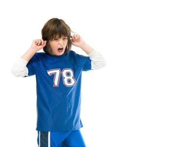 sport teenage boy plugging ears