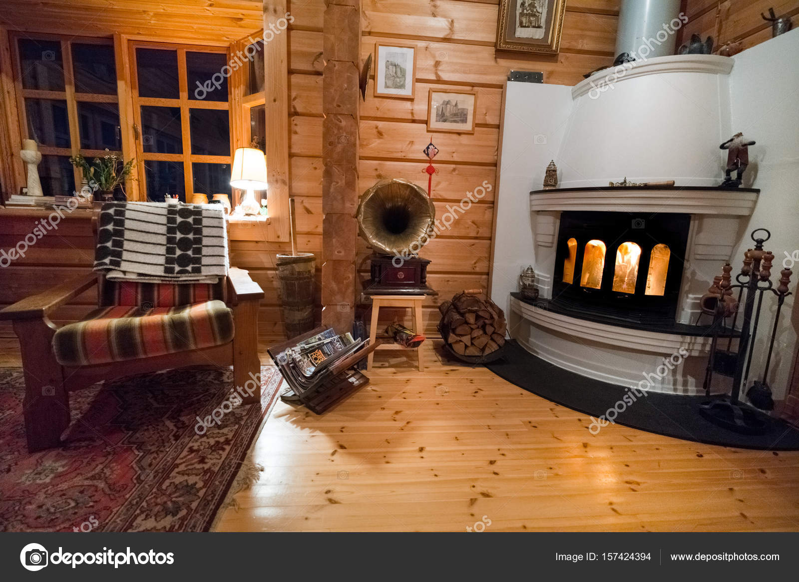 Cosy Living Room Log Cabin Burning Fire Iceland Europe Stock Photo Image By C Bruno135 157424394