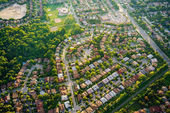 Fotografie Aerial view of houses in residential suburb