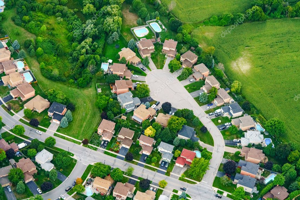 Aerial view of houses in residential suburb