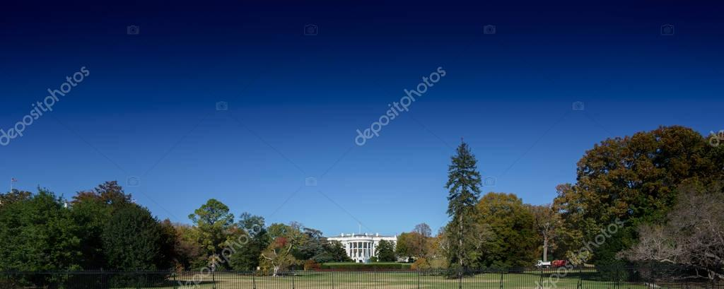 White house and landscaped grounds and green grass