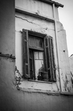 Low angle view of window in old building, Greece