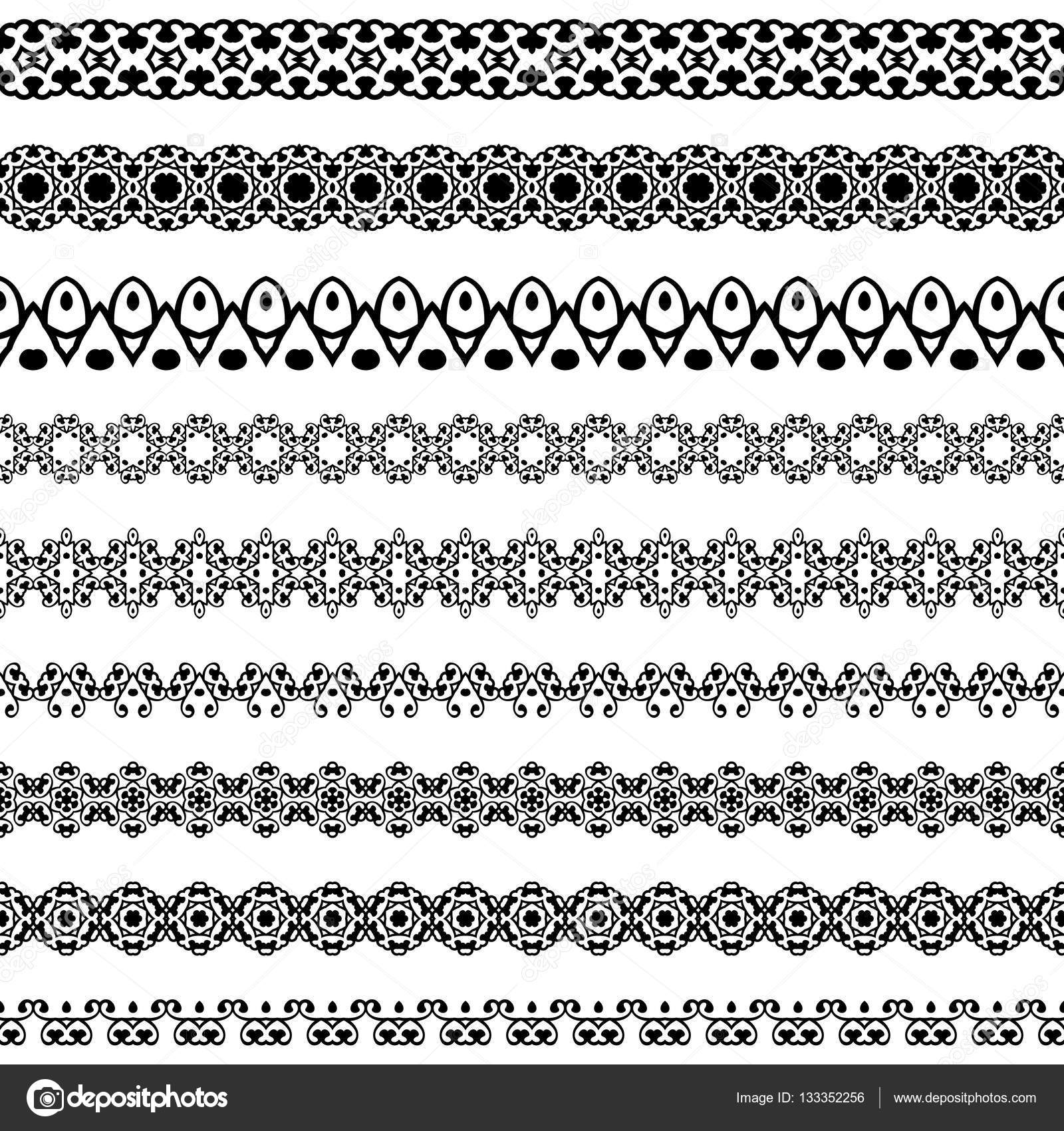 Set Line Borders With Patterns And Design Elements Vintage Vector Illustration For Fashion Industry And Not Only Stock Vector C Krahovnet 133352256