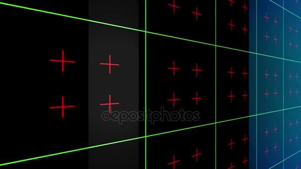 4 lesklé pozadí mřížky k abstraktní animace, geometrie povrchů, čáry a body. Fantastický futuristické proud pozadí. Lze použít jako digitální dynamické tapety, technické zázemí a hud