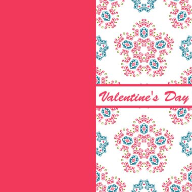 valentines day vintage card vith lettering and patterns background
