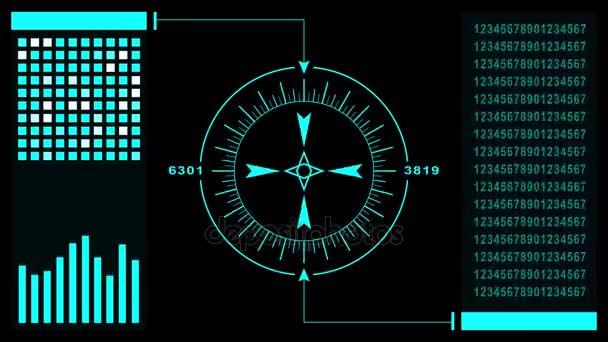 Prvky zobrazení Hud futuristické uživatelského rozhraní. Abstraktní virtuální grafické dotykové uživatelské rozhraní. UI hud rozhraní infografiku obrazovky monitoru radaru. Skvělá volba pro překryly grafiky. Opakování animace 4k